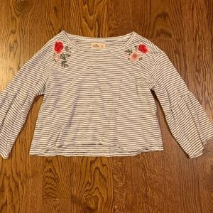 Hollister Flower Embroidered Flowy Blouse